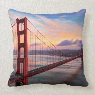 Beautiful winter sunset at Golden Gate Bridge Throw Pillow