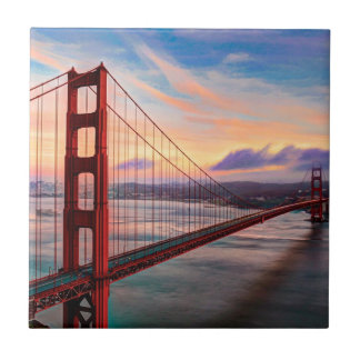 Beautiful winter sunset at Golden Gate Bridge Tile