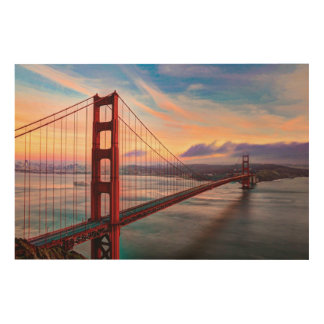 Beautiful winter sunset at Golden Gate Bridge Wood Wall Art