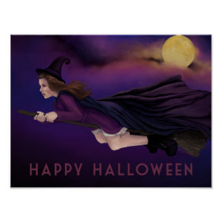 Beautiful Witch Painting Halloween Poster