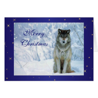 Beautiful wolf in snow photo custom christmas card