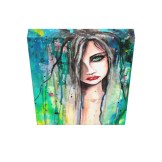 Beautiful Woman Abstract Portrait Fantasy Art Gallery Wrapped Canvas