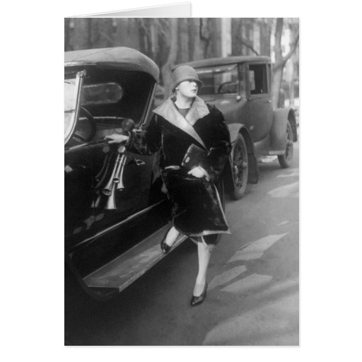 Beautiful woman and cars, 1920s card