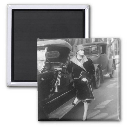 Beautiful woman and cars, 1920s 2 inch square magnet