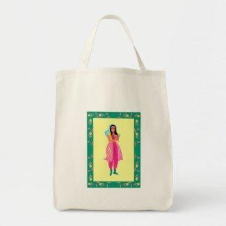 beautiful woman canvas bag