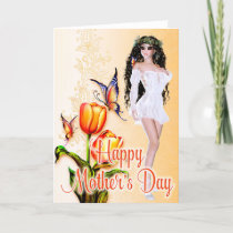 Beautiful Woman & Butterflies - Mother's Day Card