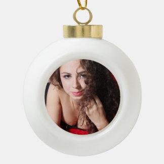 Beautiful Woman Ceramic Ball Christmas Ornament