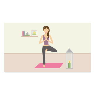 Beautiful Woman Doing Yoga In A Decorated Room Business Card
