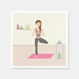 Beautiful Woman Doing Yoga In A Decorated Room Standard Cocktail Napkin