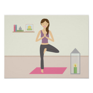 Beautiful Woman Doing Yoga In A Decorated Room Poster