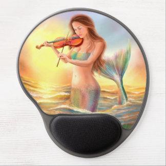 Beautiful woman fantasy mermaid plays on violin gel mouse pad