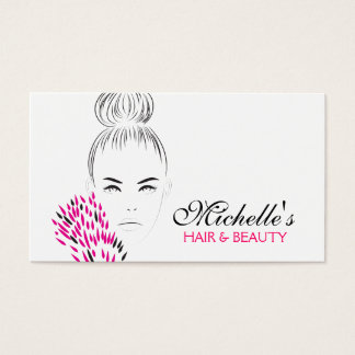 Beautiful woman fashion illustration branding business card