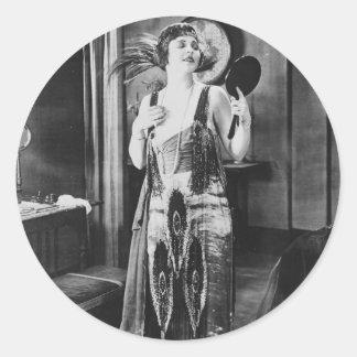 Beautiful Woman Flapper Dress 1920s Classic Round Sticker