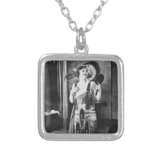 Beautiful Woman Flapper Dress 1920s Necklace