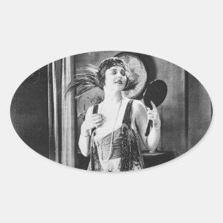Beautiful Woman Flapper Dress 1920s Oval Sticker