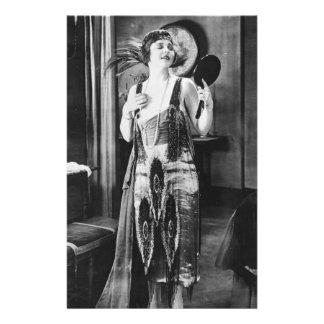 Beautiful Woman Flapper Dress 1920s Custom Stationery