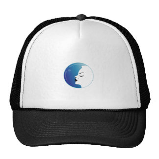 Beautiful woman in a droplet trucker hat