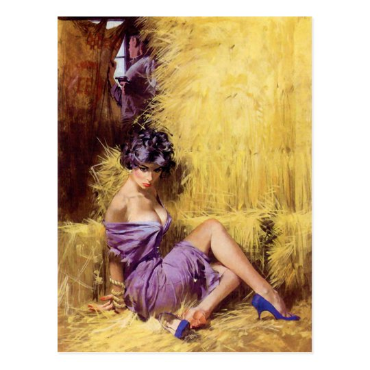 Beautiful Woman in Purple Dress Being Held Captive Postcard