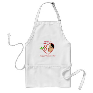 Beautiful woman inside a red heart adult apron