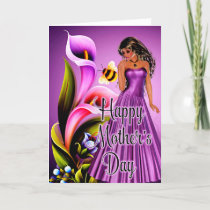 Beautiful Woman & Lily Flowers Mother's Day Card