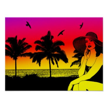 Beautiful Woman On Tropical Beach Palm Trees Art Poster