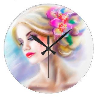 beautiful woman portrait fashion illustration large clock