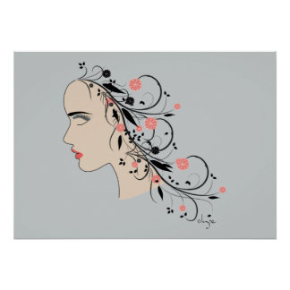 Beautiful Woman Profile with flowers and swirls Poster