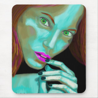 Beautiful Woman s Portrait in Fluorescent Colors Mouse Pad