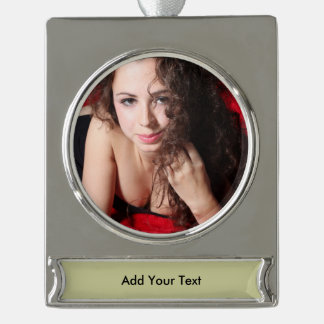 Beautiful Woman Silver Plated Banner Ornament