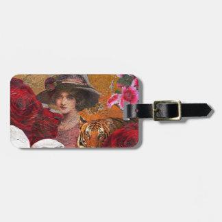 Beautiful Woman Tiger Rose Garden Bag Tag