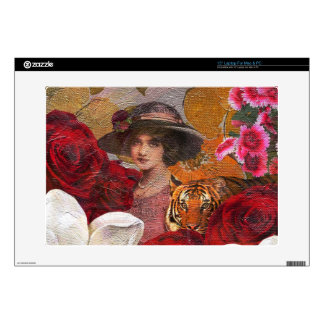 "Beautiful Woman Tiger Rose Garden Decal For 15"" Laptop"