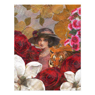 Beautiful Woman Tiger Rose Garden Letterhead