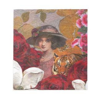 Beautiful Woman Tiger Rose Garden Note Pad