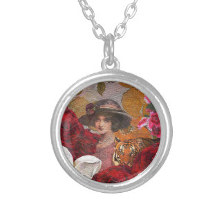 Beautiful Woman Tiger Rose Garden Round Pendant Necklace