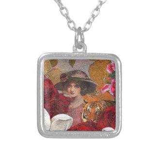 Beautiful Woman Tiger Rose Garden Square Pendant Necklace