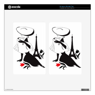 Beautiful woman vintage silhouette with a big hat decals for kindle fire