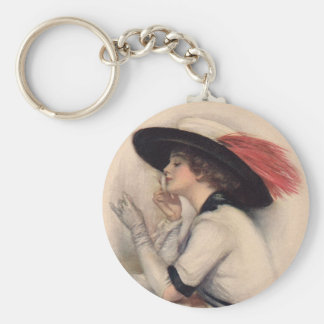 Beautiful Woman Voting - Vintage Suffrage Fashion Basic Round Button Keychain