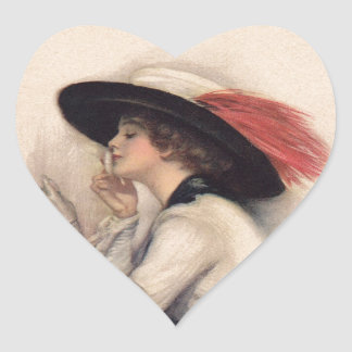 Beautiful Woman Voting - Vintage Suffrage Fashion Heart Sticker