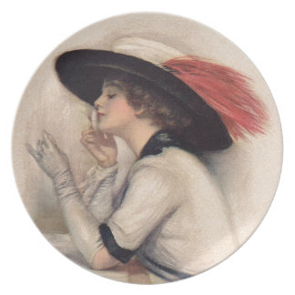 Beautiful Woman Voting - Vintage Suffrage Fashion Party Plate