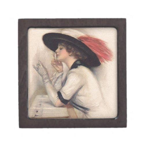 Beautiful Woman Voting - Vintage Suffrage Fashion Premium Gift Box