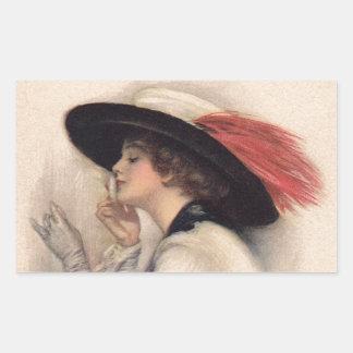 Beautiful Woman Voting - Vintage Suffrage Fashion Rectangular Sticker