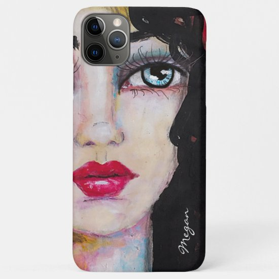 Beautiful Woman Whimsical Artsy Black Red Add Name iPhone 11 Pro Max Case