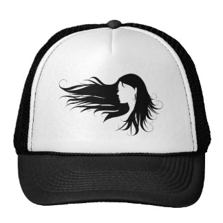 Beautiful woman with black curly hair trucker hat