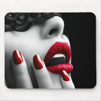 Beautiful Woman With Black Lace Mask Mouse Pad