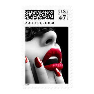 Beautiful Woman With Black Lace Mask Postage