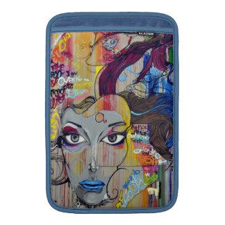 Beautiful woman with blue lips graffiti MacBook air sleeve