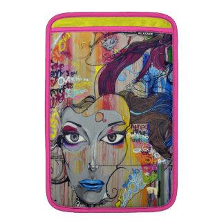 Beautiful woman with blue lips graffiti MacBook sleeve
