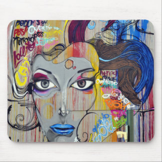 Beautiful woman with blue lips graffiti mouse pad
