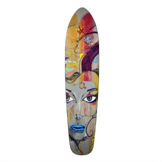 Beautiful woman with blue lips graffiti skateboard