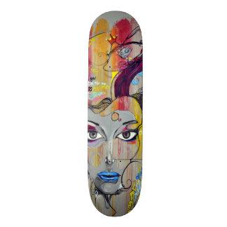 Beautiful woman with blue lips graffiti skateboard deck